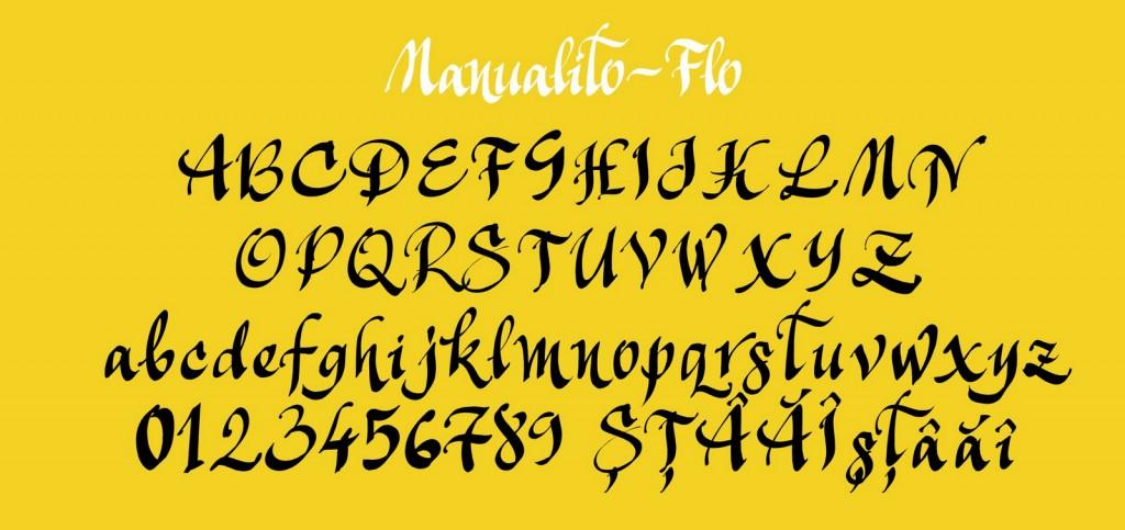 Fontul Manualito-Flo majuscule, minuscule, cifre şi diacritice româneşti