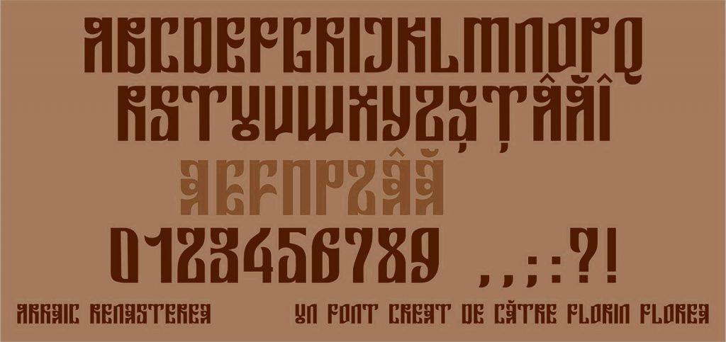 Font Arhaic Renasterea, un font Arhaic Romanesc litere ce au forma unui dreptunghi insa cu forme de frunze si ascutisuri