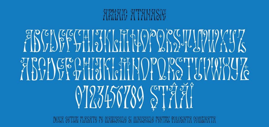 Fontul Arhaic Atanasie, un font Arhaic Romanesc desenat de mana, fin