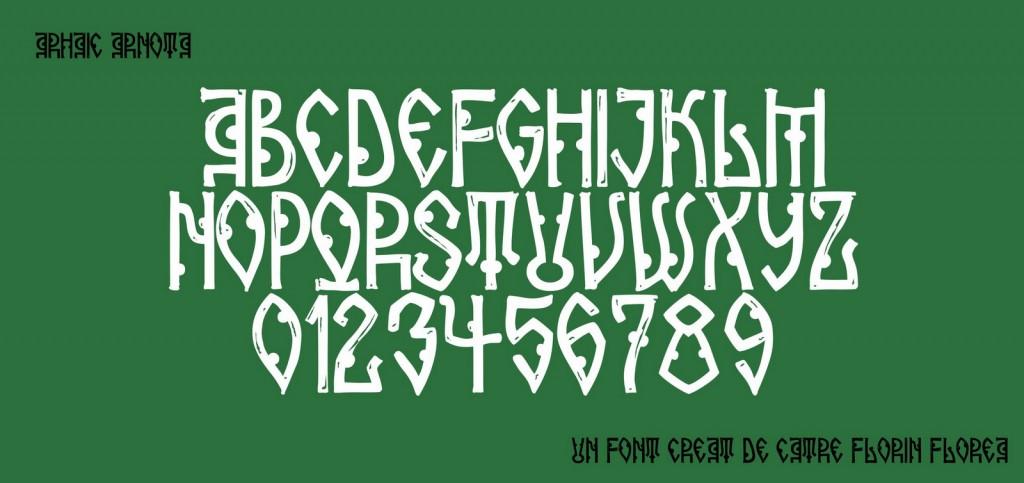 Font Arhaic Arnota, un font Arhaic Romanesc bold și parca cioplit in lemn