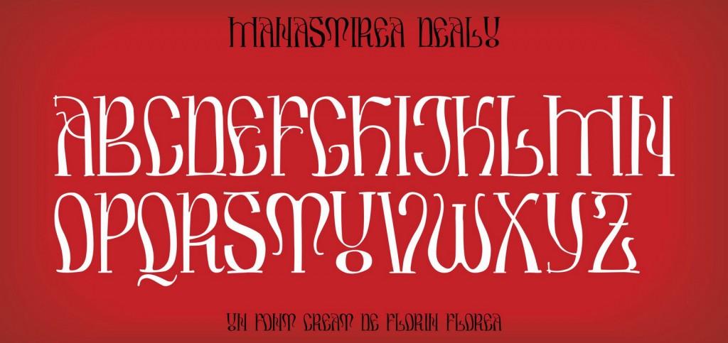 Fontul Mănăstirea Dealu, un font Arhaic Romanesc cu linie modulata si forme unduite.