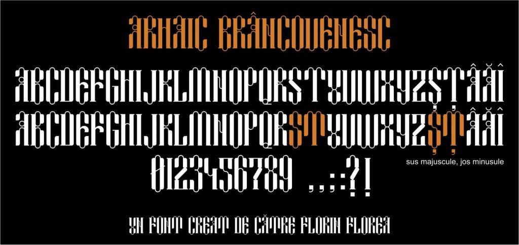 Font Arhaic Brancovenesc, un font Arhaic Romanesc folosind forme trilobate in spiritul arcadelor Palatului Mogoșoaia