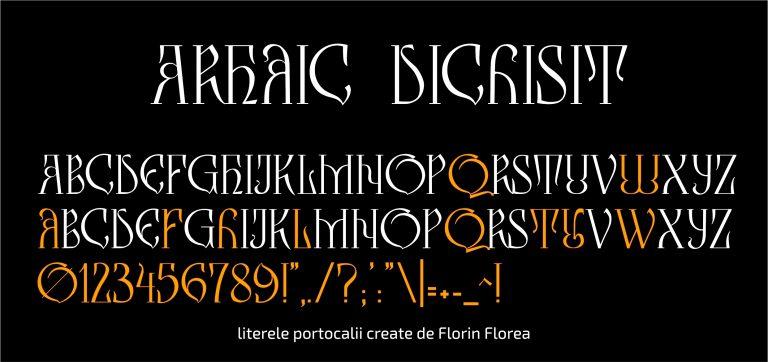 Întregul set, cu oranj sunt literele create de Florin Florea.