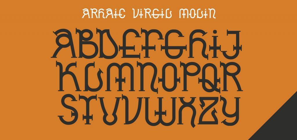 Arhaic Virgil Molin, un font Arhaic Romanesc modern, cu forme rotunde și serife