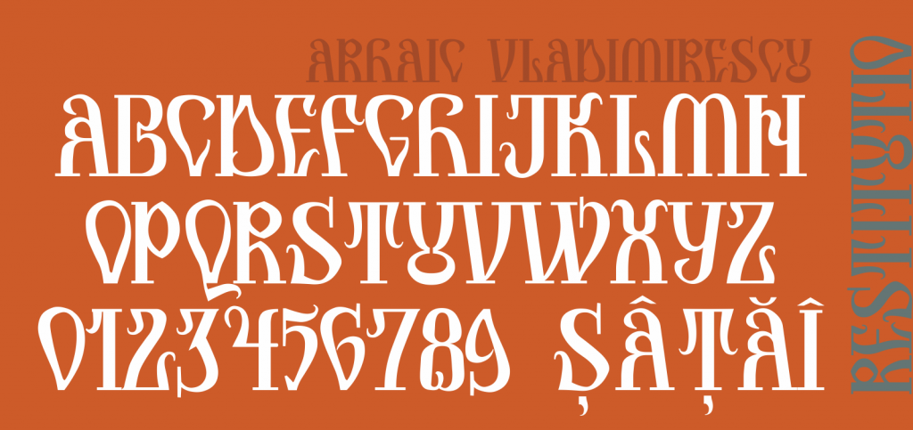 Arhaic Vladimirescu, alfabetul.
