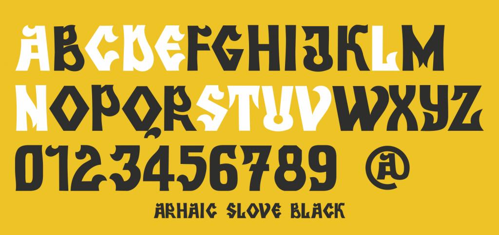 Arhaic Slove Black, un font Arhaic Romanesc bold și intunecat