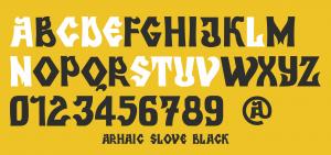 Alfabetul fontului Arhaic Slove Black